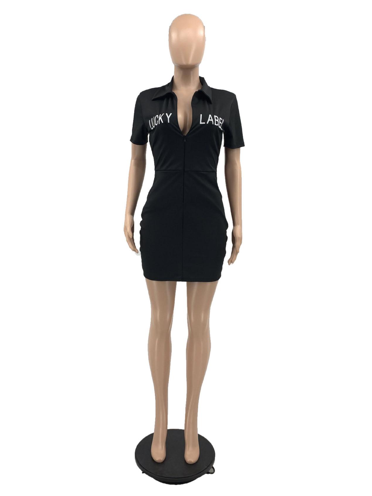 Leisure Letter Zipper Up Short Sleeve Pocket Dress