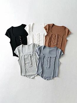 U Neck Solid Patch T Shirt