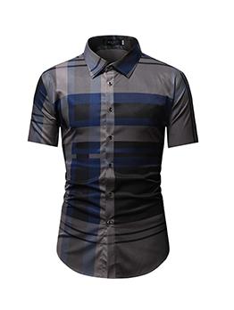 Turndown Collar Short Sleeve Mens Shirt