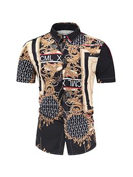 New Print Short Sleeve Shirts For Men