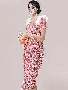 Sweet Elegant Red Floral Short Sleeve Split Dress