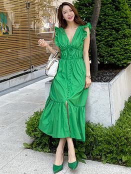 Temperament V Neck Big Hem Green Maxi Dress