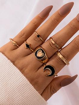 Fashion Black Hear Moon Geometry Seven-Piece Ring