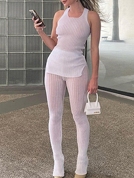 Transparent Sleeveless Two Piece Outfits
