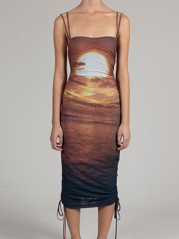 New Spaghetti Strap Print Midi Dress