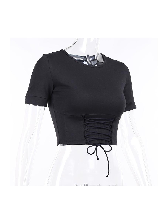 Casual Chic Tie-Wrap Short Sleeve Short Tee