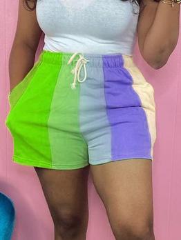 Contrast Color Register Print Short Pants