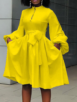 Casual Pure Color Lantern Sleeve Plus Size Dress