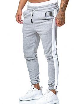 New Fashion Contrast Color Drawstring Long Pants