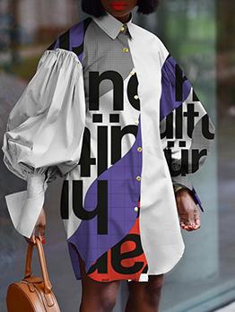 Letter Print Fashion Lantern Sleeve Plus Size Dress
