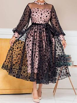 Dots Gauze Patchwork Temperament Plus Size Dress