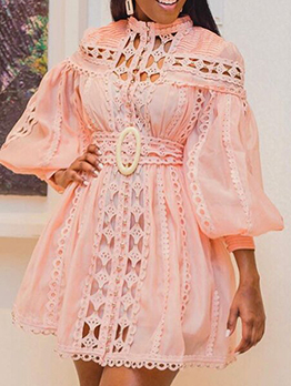 Pink Elegant Sexy Hollow Out Long Sleeve Dresses