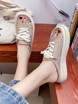 Gauze Slip On Casual Women Slippers For Summer