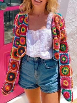 V Neck Colorful Long Sleeve Short Coat