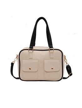 Contrast Color Solid Fashion Women Pocket Tote Bag
