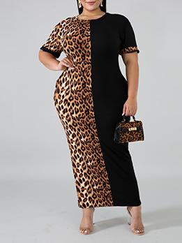 Leopard Fashion Color Match Plus Size Maxi Dress