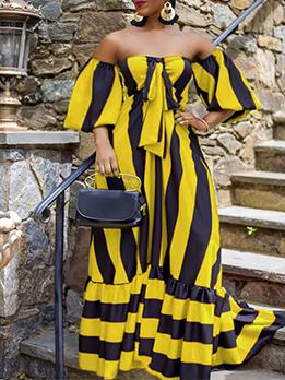 Contrast Color Stripe Off Shoulder Plus Size Maxi Dress