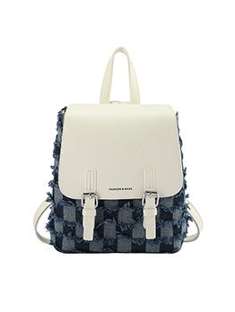 Fashion Contrast Color Simple Denim Backpacks