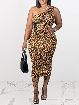 Animal Printed Hollow Out Plus Size Sleeveless Sheath Dress