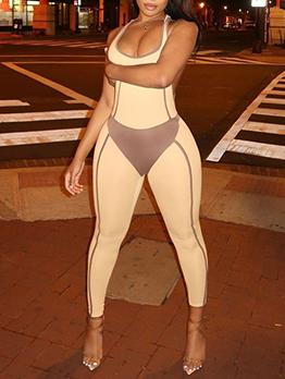 Seductive Contrast Color Sleeveless Bodycon Jumpsuit
