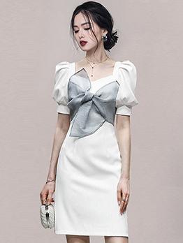 Lady Style Stylish Puff Sleeve Sheath Dresses Summer