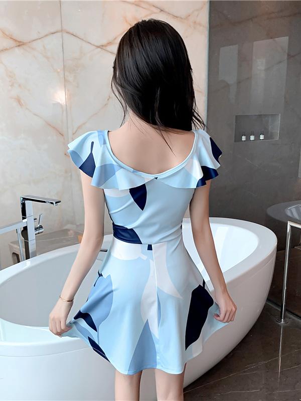 Cool Summer Beach Print Hollow Out Short Dress