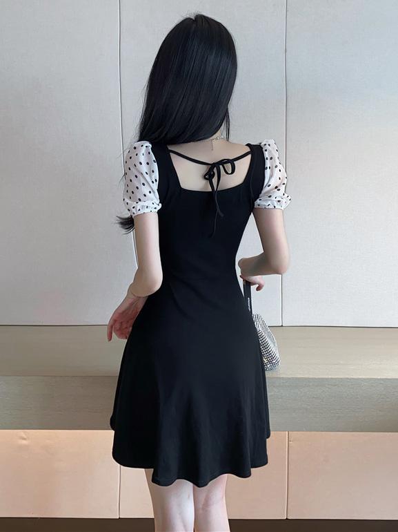 Vintage Off Shoulder Dots Short Sleeve Dresses