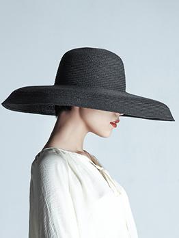 Summer Casual Vintage Solid Wide Brim Hat