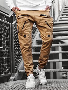 Casual Solid Zipper Pocket Drawstring Men Long Pant