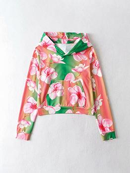 Causal Hooded Printed Pocket Sweatshirt For Women