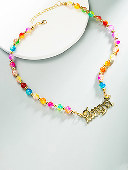 Colourful Glass Resin Letter Choker Necklace