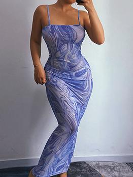 New Print Camisole Bodycon Maxi Dress