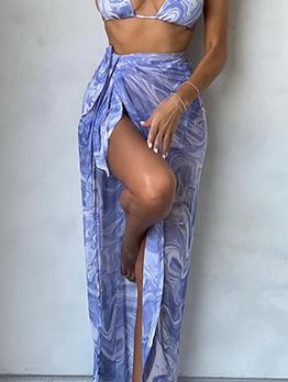 New Tie Wrap Print Maxi Skirt