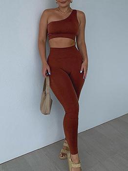 Inclined Shoulder Skinny Ladies Gym Wear
