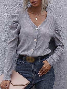 Winter V Neck Solid Short Coats For Women