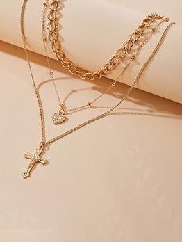 Punk Style Women Cross Pendant Necklace