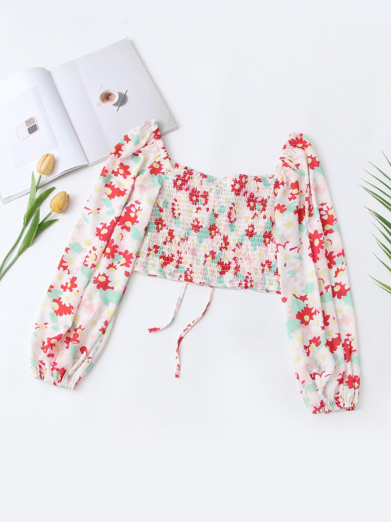 Fashion Square Neck Long Sleeve Blouse