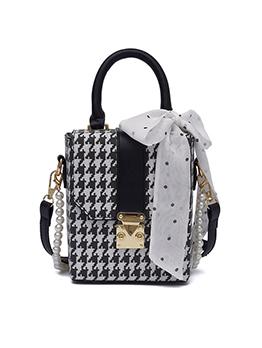 Fashion Houndstooth Bow Design Shoulder Bags