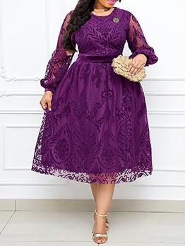 Elegant Solid Long Sleeve Plus Size Dress