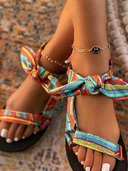 New Leopard Print Bow Flat Sandals