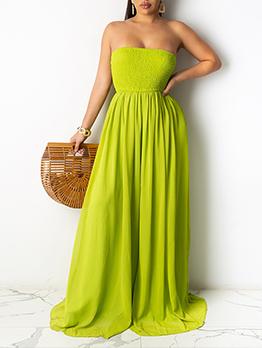 Pretty Solid Strapless Loose Chiffon Maxi Dress