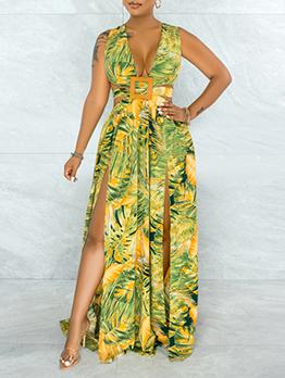 Modern V Neck Sleeveless Long Slit Maxi Dress