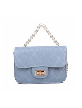 New Fashion Faux Pearl Rhombus Lattice Chain Shoulder Bag