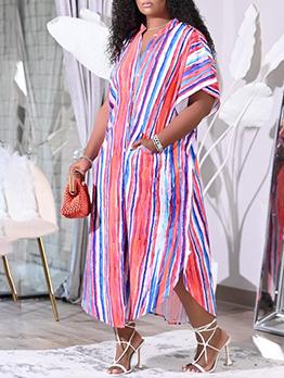 Striped Blouse Loose Plus Size Maxi Dress