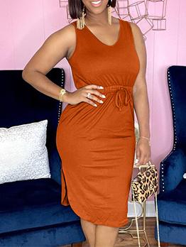 Plus Size Solid Smart Waist Sleeveless Dress