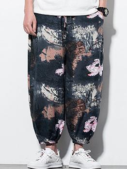 Summer Loose Print Long Pants Men