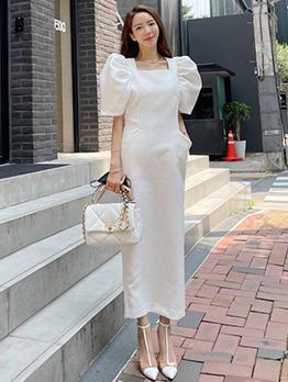 Elegant White Puff Sleeve Maxi Dress