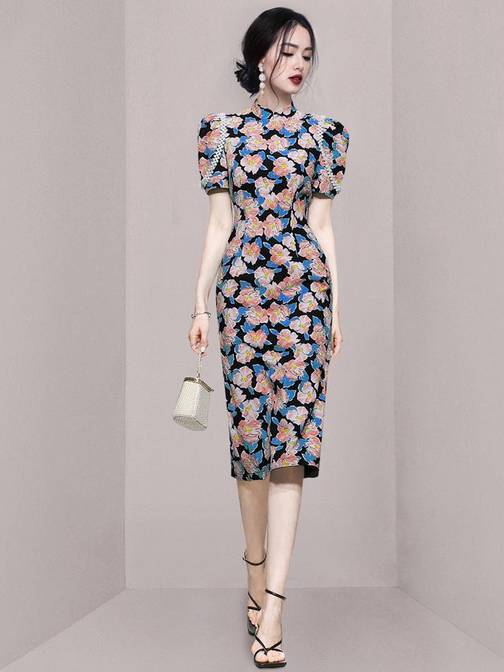 Mock Neck Short Sleeve Casual Dress