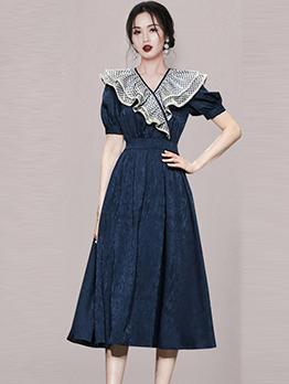 Vintage Ruffle Short Sleeve Midi Dress