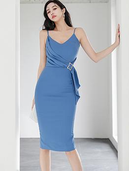 Korean Style V Neck Sheath Dress